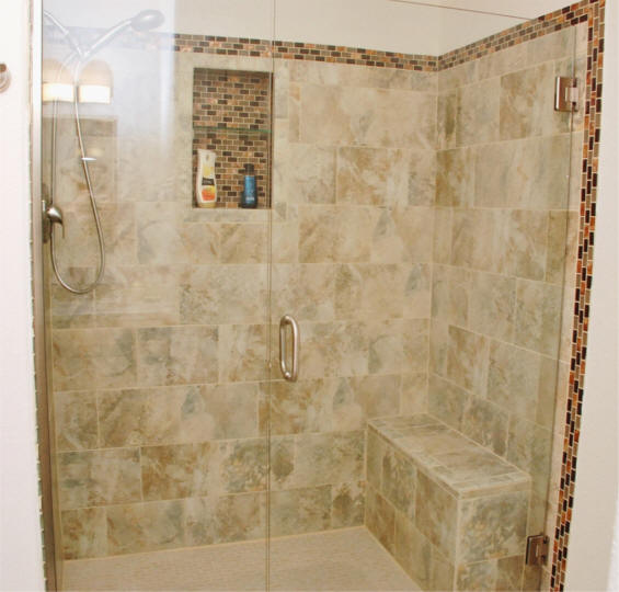 Charmant Custom Tile Shower Remodeling Project With Build In For Shampoo Bottles And  Bench